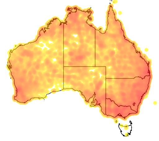 distribution map showing range of Pachycephala rufiventris in Australia