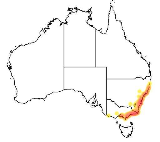 distribution map showing range of Paracrinia haswelli in Australia