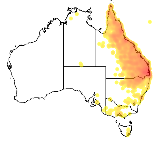 distribution map showing range of Platycercus adscitus in Australia