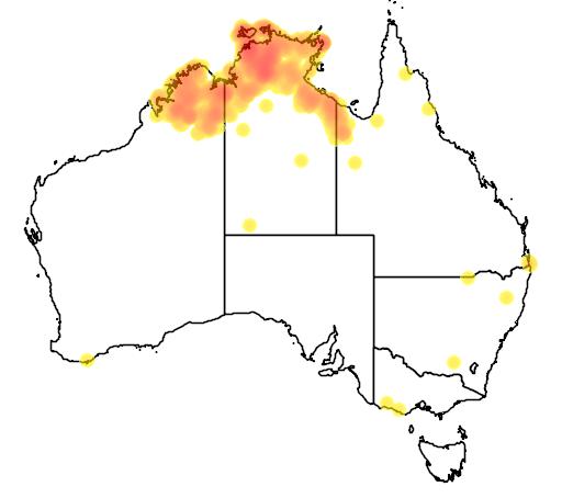 distribution map showing range of Platycercus venustus in Australia