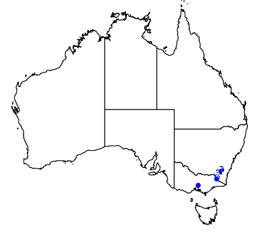 distribution map showing range of Pseudophryne corroboree in Australia