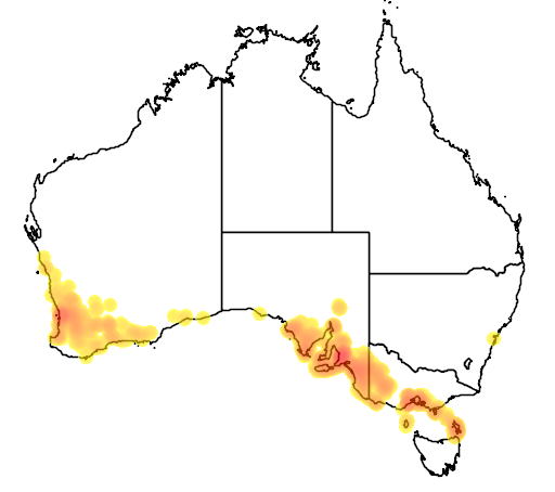 distribution map showing range of Pterostylis sanguinea in Australia