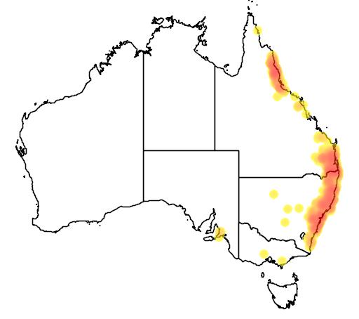 distribution map showing range of Sericornis citreogularis in Australia