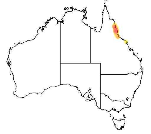 distribution map showing range of Sericornis keri in Australia