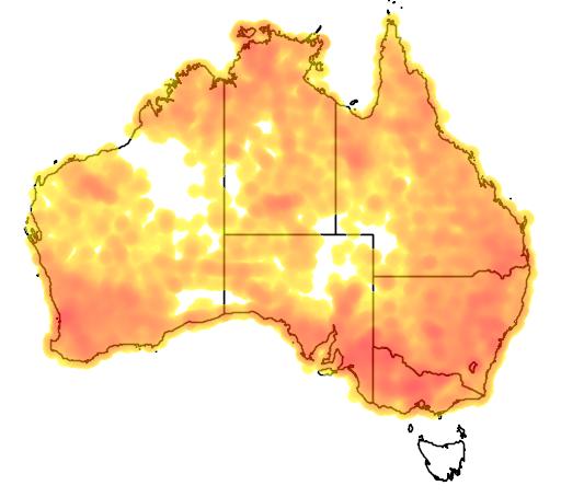 distribution map showing range of Smicrornis brevirostris in Australia