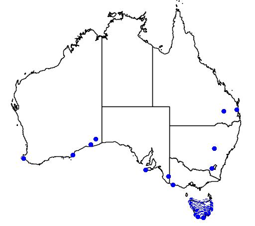 distribution map showing range of Thylacinus cynocephalus in Australia