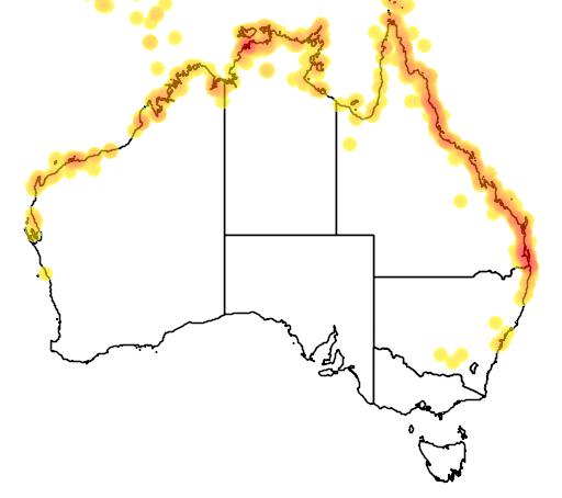distribution map showing range of Todiramphus chloris in Australia