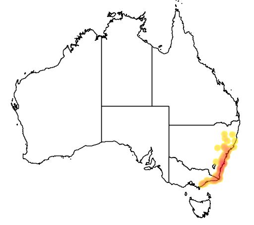 distribution map showing range of Uperoleia tyleri in Australia
