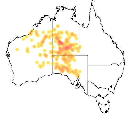 distribution map showing range of Varanus gilleni in Australia