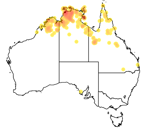 distribution map showing range of Varanus mertensi in Australia