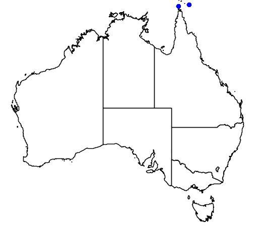 distribution map showing range of Varanus prasinus in Australia